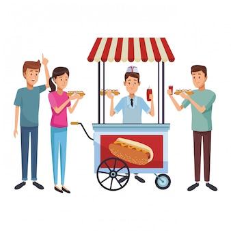 Caricature de hot-dog