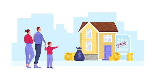 Caricature d'hypothèque maison avec famille heureuse, bâtiment, argent, contrat