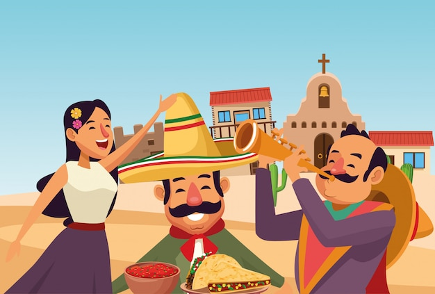 Caricature d'icône de la culture traditionnelle mexicaine