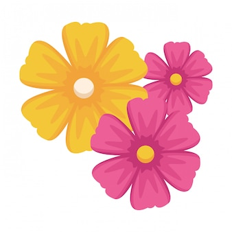 Caricature d'icône fleur isolée