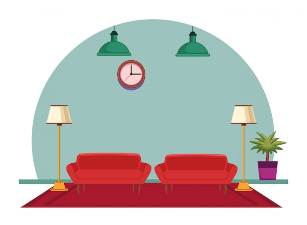 Caricature d'icône intérieur maison meubles
