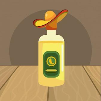 Caricature d'icône mexicaine sur la table de restaurant