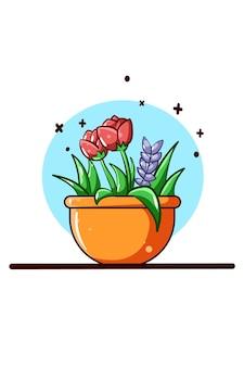 Caricature d'icône de pots de fleurs de tulipe