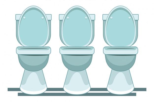 Caricature d'icône trois toilettes sanitaires