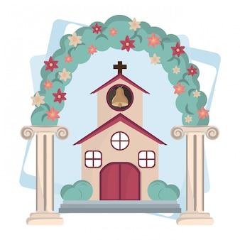 Caricature d'icônes de jour de mariage