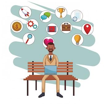 Caricature d'icônes de médias sociaux