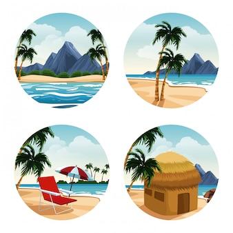 Caricature d'îles isolées sur des icônes rondes