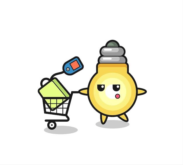 Caricature d'illustration d'ampoule avec un panier, design de style mignon pour t-shirt, autocollant, élément de logo