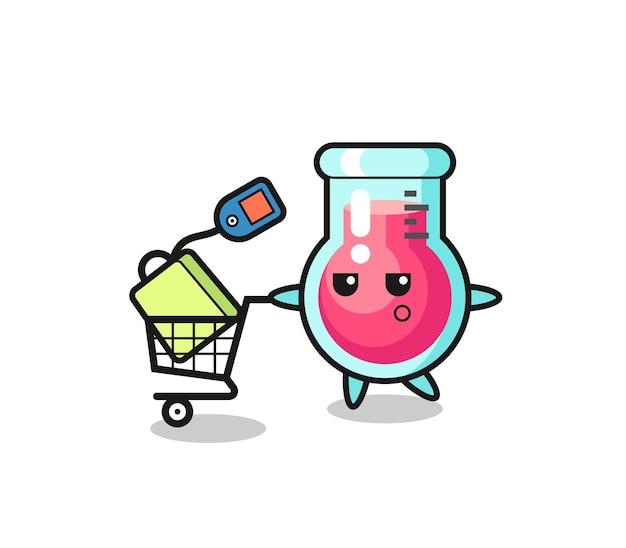 Caricature d'illustration de bécher de laboratoire avec un panier, design de style mignon pour t-shirt, autocollant, élément de logo