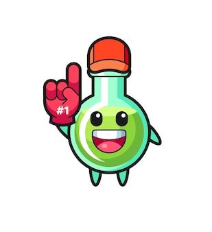 Caricature d'illustration de béchers de laboratoire avec gant de fans numéro 1, design de style mignon pour t-shirt, autocollant, élément de logo