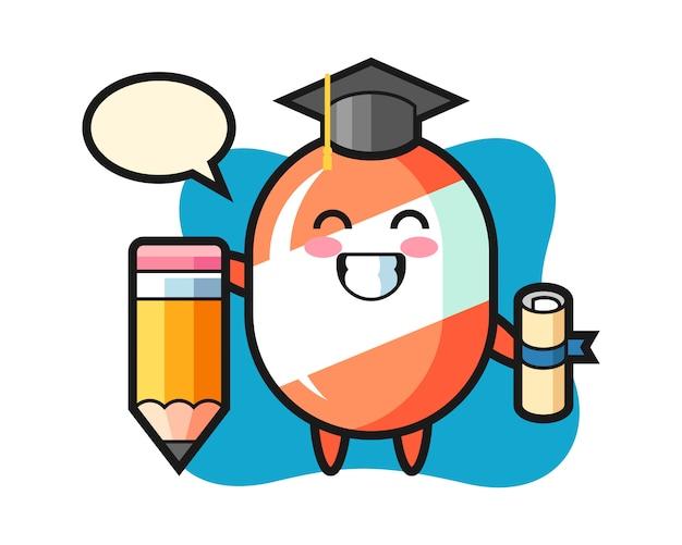 Caricature d'illustration de bonbons est l'obtention du diplôme avec un crayon géant