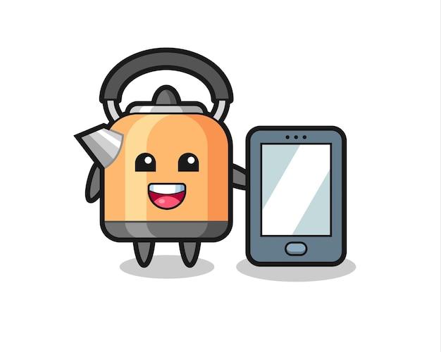 Caricature d'illustration de bouilloire tenant un smartphone, design de style mignon pour t-shirt, autocollant, élément de logo