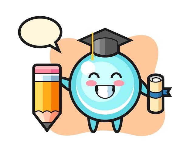 La caricature d'illustration de bulle est l'obtention du diplôme avec un crayon géant, conception de style mignon