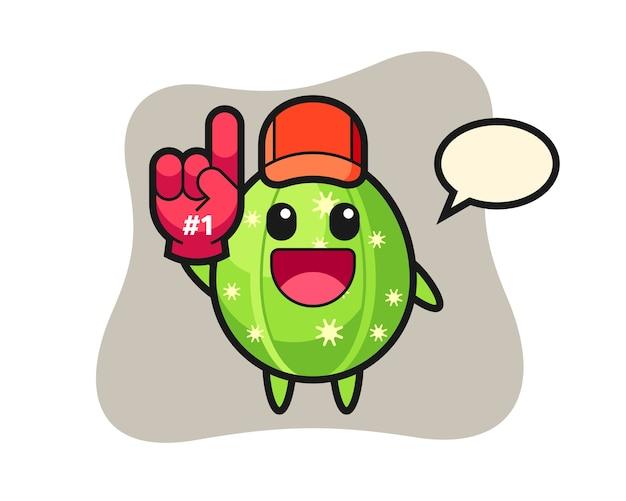 Caricature d'illustration de cactus avec gant de fans numéro 1
