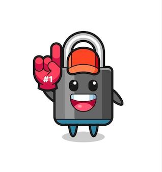 Caricature d'illustration de cadenas avec le gant de fans numéro 1, design de style mignon pour t-shirt, autocollant, élément de logo