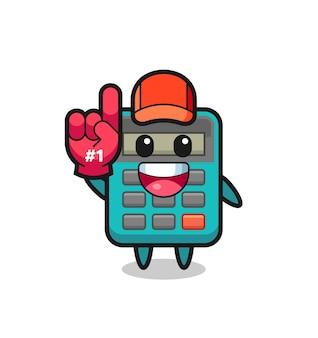 Caricature d'illustration de calculatrice avec le gant de fans numéro 1, design de style mignon pour t-shirt, autocollant, élément de logo