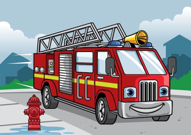 Caricature de l'illustration de camion de pompier