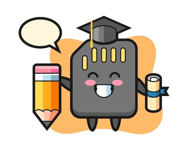 Caricature d'illustration de carte sd est l'obtention du diplôme avec un crayon géant, conception de style mignon pour t-shirt