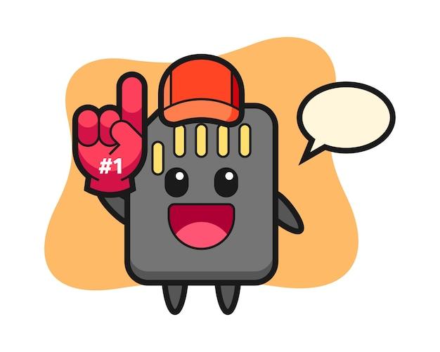 Caricature d'illustration de carte sd avec gant de fans numéro 1, conception de style mignon pour t-shirt