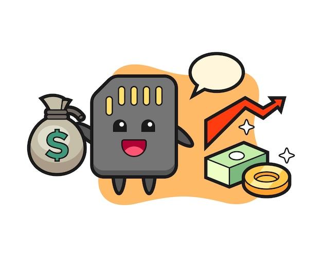 Caricature d'illustration de carte sd tenant le sac d'argent, conception de style mignon pour t-shirt