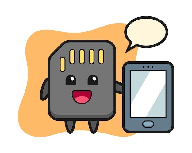 Caricature d'illustration de carte sd tenant un smartphone, conception de style mignon pour t-shirt