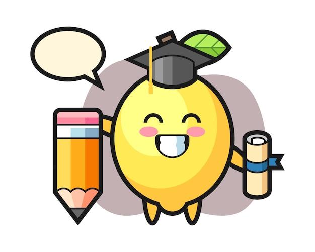 Caricature d'illustration de citron est l'obtention du diplôme avec un crayon géant