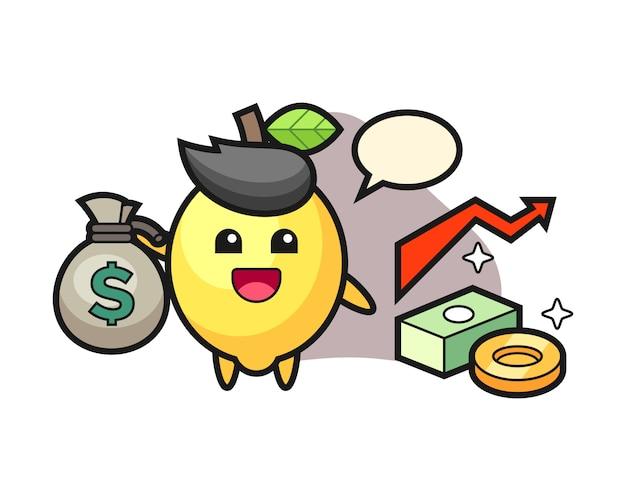 Caricature d'illustration citron tenant le sac d'argent