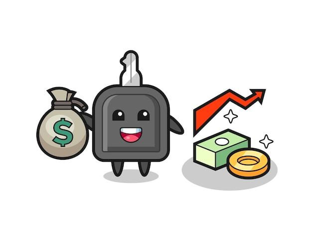 Caricature d'illustration de clé de voiture tenant un sac d'argent, conception de style mignon pour t-shirt, autocollant, élément de logo
