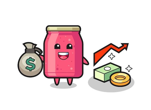 Caricature d'illustration de confiture de fraises tenant le sac d'argent, conception mignonne