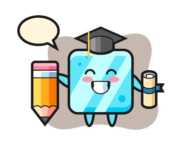 Caricature d'illustration de cube de glace est l'obtention du diplôme avec un crayon géant