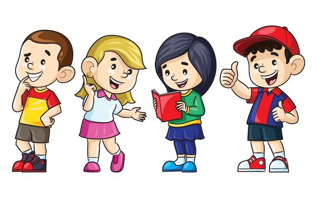 Caricature d'illustration de garçons et de filles mignons.