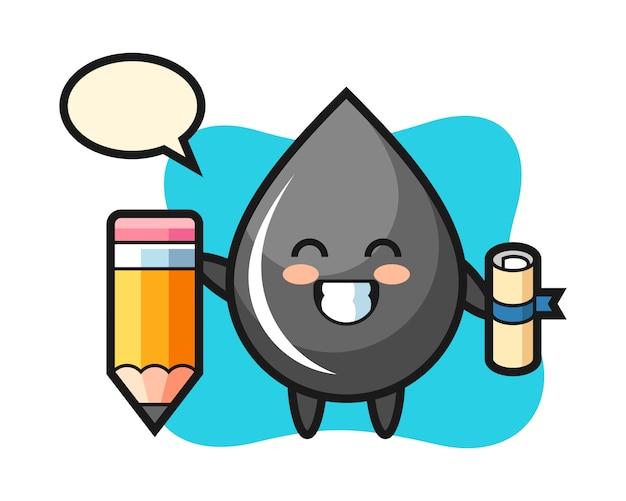 Caricature d'illustration de goutte d'huile est l'obtention du diplôme avec un crayon géant