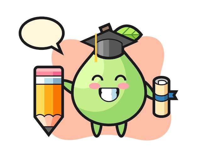 Caricature d'illustration de goyave est l'obtention du diplôme avec un crayon géant, style mignon pour t-shirt, autocollant, élément de logo