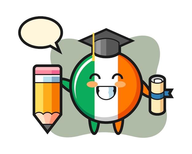 La caricature d'illustration d'insigne de drapeau de l'irlande est l'obtention du diplôme avec un crayon géant