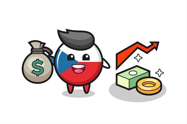 Caricature d'illustration d'insigne de drapeau tchèque tenant un sac d'argent, design de style mignon pour t-shirt, autocollant, élément de logo