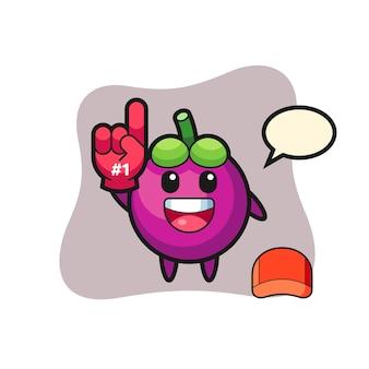 Caricature d'illustration de mangoustan avec le gant de fans numéro 1, design de style mignon pour t-shirt, autocollant, élément de logo