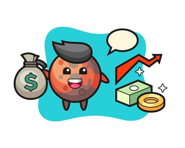 Caricature d'illustration de mars tenant un sac d'argent, design de style mignon pour t-shirt, autocollant, élément de logo