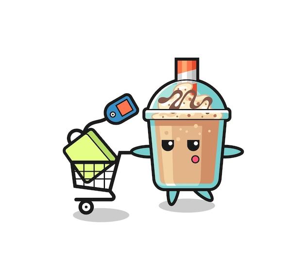 Caricature d'illustration de milkshake avec un panier d'achat, design de style mignon pour t-shirt, autocollant, élément de logo