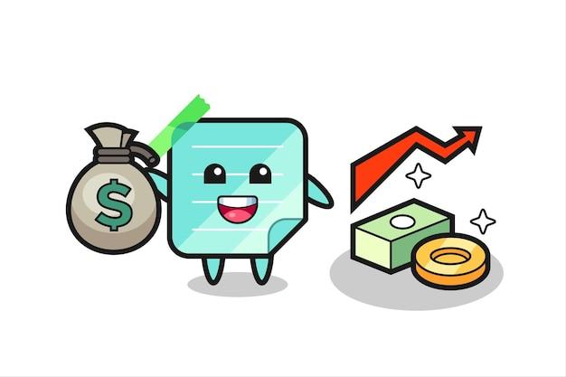 Caricature d'illustration de notes collantes tenant un sac d'argent, conception de style mignon pour t-shirt, autocollant, élément de logo