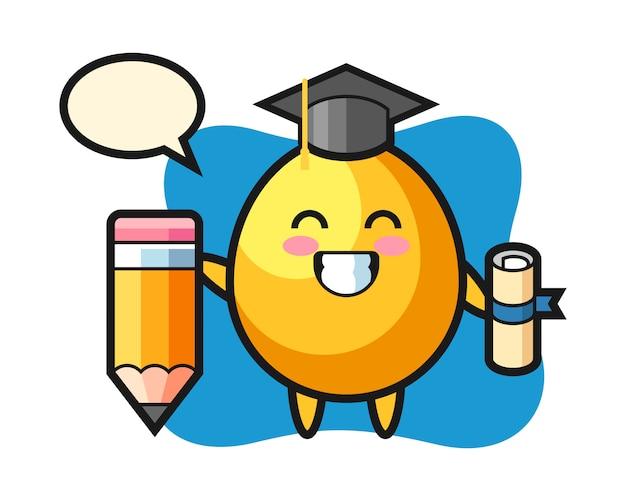Caricature d'illustration d'oeuf d'or est l'obtention du diplôme avec un crayon géant, conception de style mignon