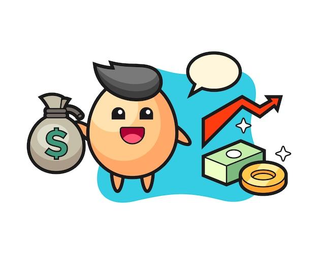 Caricature d'illustration d'oeuf tenant le sac d'argent, style mignon pour t-shirt, autocollant, élément de logo