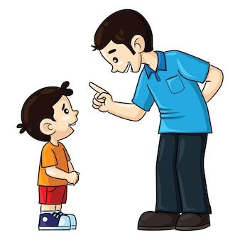Caricature d'illustration de père mignon conseillant son fils