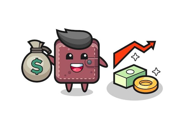 Caricature d'illustration de portefeuille en cuir tenant un sac d'argent
