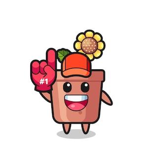 Caricature d'illustration de pot de tournesol avec le gant de fans numéro 1, design de style mignon pour t-shirt, autocollant, élément de logo