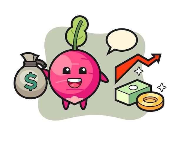 Caricature d'illustration de radis tenant un sac d'argent, design de style mignon pour t-shirt, autocollant, élément de logo