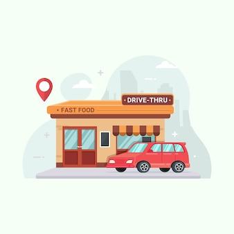 Caricature d'illustration de restaurant de restauration rapide au volant