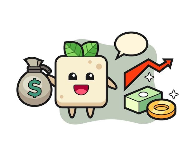 Caricature d'illustration de tofu tenant un sac d'argent, conception de style mignon pour t-shirt