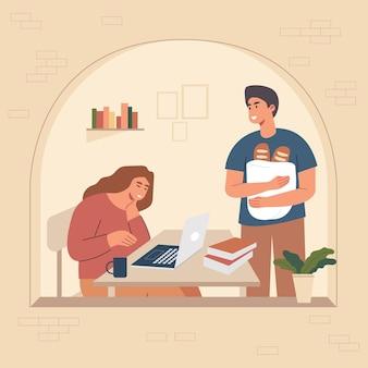 Caricature d'illustration vectorielle de deux jeunes garçons et filles discutent les uns des autres.