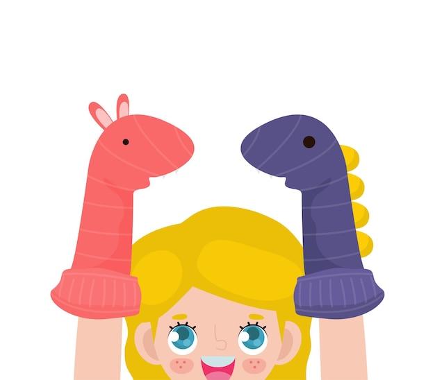 Caricature d'illustration vectorielle de petits enfants mignons jouant des marionnettes de chaussette dans le théâtre