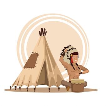 Caricature des indiens d'amérique